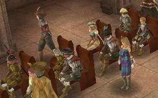教会に集まる人々