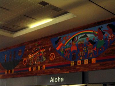 ハワイ地震後のホノルル空港 カウンター