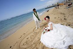 ビーチ撮影砂浜に名前をかいて