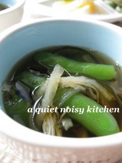 スナップエンドウの即席スープ・2