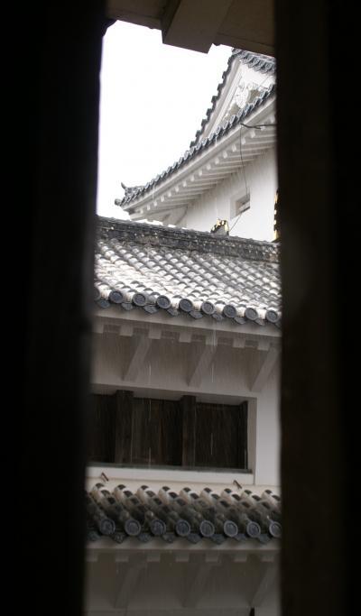 姫路城 雨