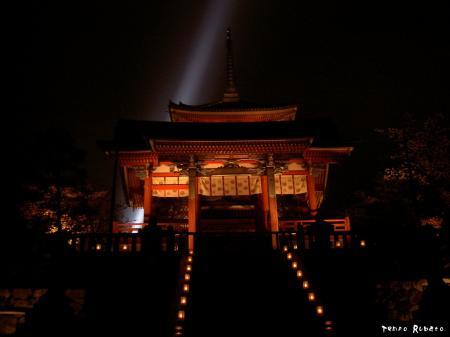 ライトアップされた清水寺にて。