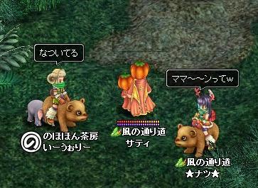 この姿で立っていたらかぼクマが近寄ってきた奇跡。(´▽`*)