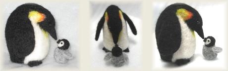 羊毛フェルト 皇帝ペンギンの親子