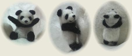 パンダ雪だるまと子パンダたち2