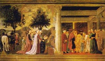 聖木の橋 を礼拝するシバの女王、ソロモンとシバの女王の会見(聖十字架物語)