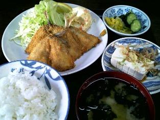 山田ホームレストラン 本日の定食Cアジフライ002
