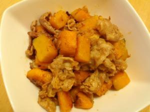 かぼちゃと豚肉の生姜醤油炒め