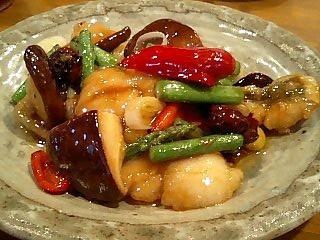芝蘭 鱧と夏野菜の炒め