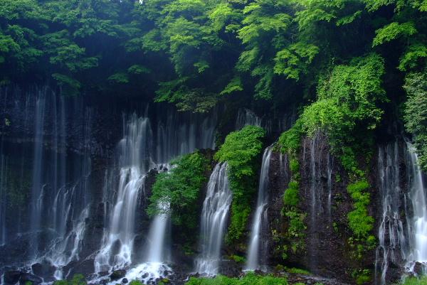 山側の白糸の滝