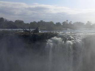 うっすらと覗く滝の上流