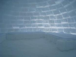 氷の上にベニヤを敷いただけのベッド