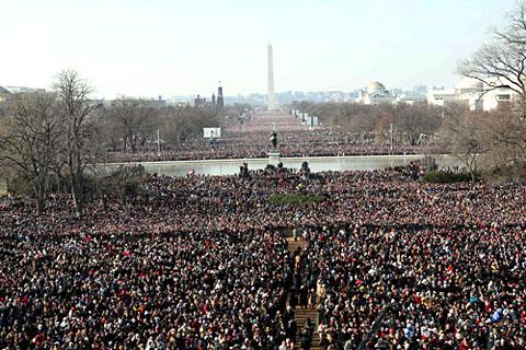 オバマ新大統領就任式、首都ワシントンの連邦議会議事堂前