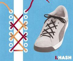 ハッシュ結び・靴ひも・結び方
