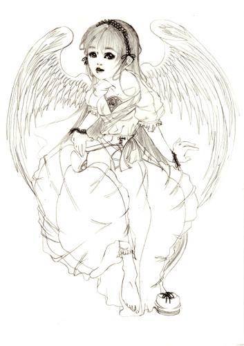 椅子に座る天使