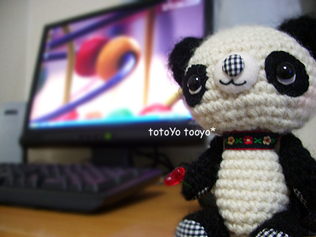 あみぐるみパンダ君とパソコン