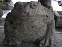 宇都宮餃子像の隣のカエル