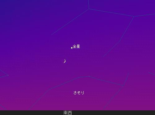 2008 11 1 三日月と金星と夕暮れと星図