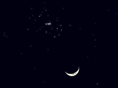 2009 3 30 細い月とプレアデス星団の接近星図2