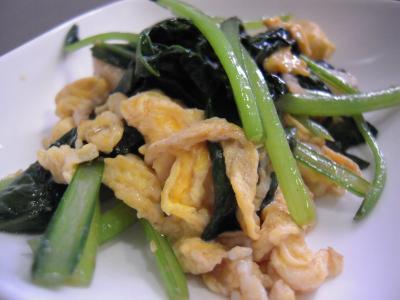 小松菜と卵炒め