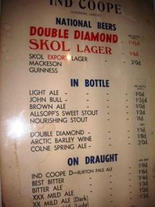 昔のビールのメニュー
