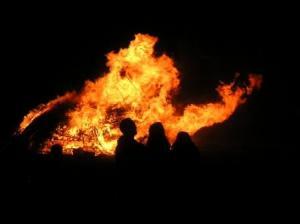 bonfire subsiding