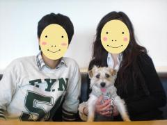 母と息子と犬