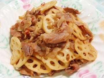 蓮根と豚肉の甘辛炒め