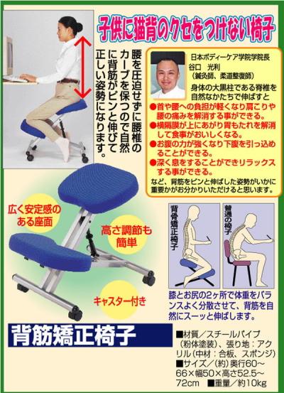 座るだけでシャキッと背筋が伸びる!背筋矯正椅子