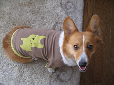 犬アップリケTシャツ