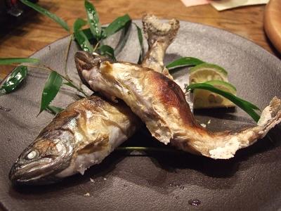 藤もと 夕食 焼魚(山女)