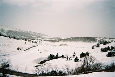 栗駒山荘特別室眺望 4月末