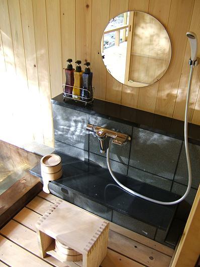 もずも 部屋付露天風呂洗い場・シャワー