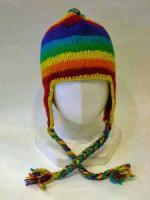 レインボー耳付きニット帽