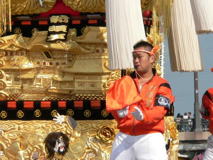 市制70周年記念国領川かき比べ 会場の新須賀太鼓台