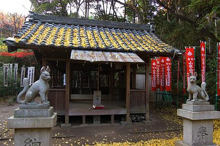 小牧山稲荷神社狐と拝殿