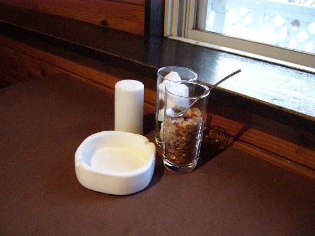 小空カフェテーブル砂糖等